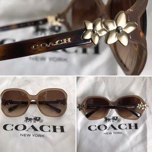 Coach in Milky Light Brown Flower  Lens  Sunglass